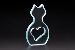 ガラスオブジェ/猫とハート/くり抜き加工/曲線加工