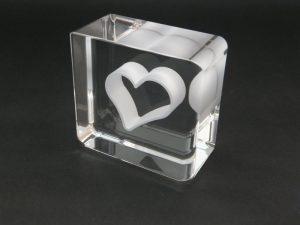 石英ガラス ペーパーウェイトハート/クリアタイプ