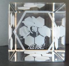 石英ガラスオブジェ/サイコロ/1の目蜂+危険!・サイコロの目6角形