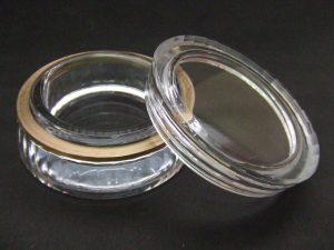 石英ガラスオブジェ/ 雄ネジ・雌ネジ切り蓋付き容器(透明・不透明)