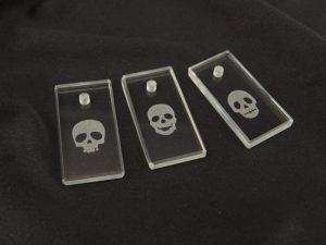 ガラス ネックレストップドクロ/3種