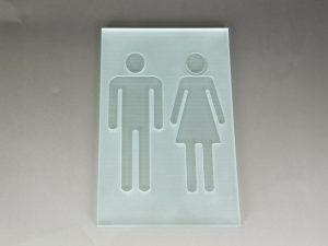 ガラス トイレサインプレート/人形・男女