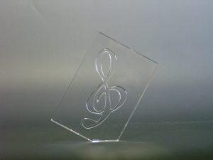 石英ガラス ト音記号 薄型ペーパーウエイト / クリア